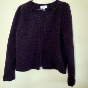 Elle Black Ribbed Boxy Fit Open Cardigan